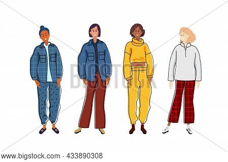 Group Of Fashionable Women With Warm Sweatshirt And Trousers. Casual Cozy Clothes. Warm Clothes For