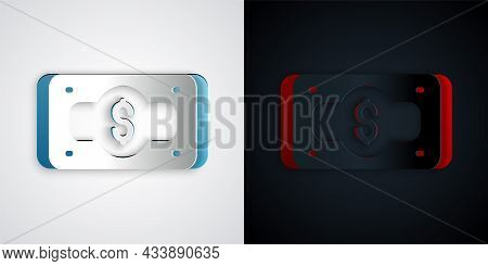 Paper Cut Stacks Paper Money Cash Icon Isolated On Grey And Black Background. Money Banknotes Stacks
