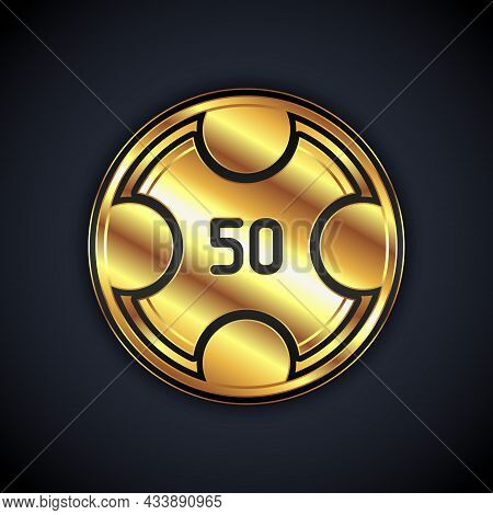 Gold Casino Chips Icon Isolated On Black Background. Casino Gambling. Vector