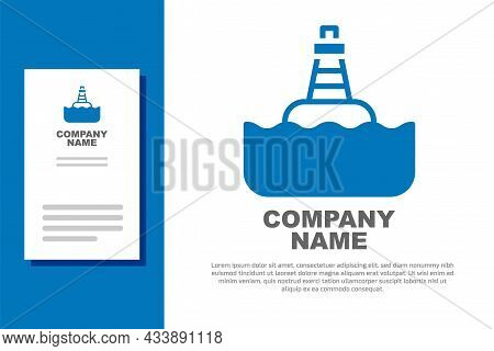 Blue Floating Buoy On The Sea Icon Isolated On White Background. Logo Design Template Element. Vecto