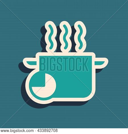 Green Cooking Pot And Kitchen Timer Icon Isolated On Green Background. Boil Or Stew Food Symbol. Lon