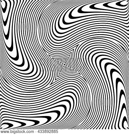 Whirl Rotation Movement Illusion In Abstract Op Art Design. Lines Texture. Vector Illustration.