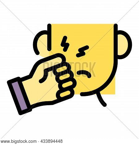 Stop Face Violence Icon. Outline Stop Face Violence Vector Icon Color Flat Isolated