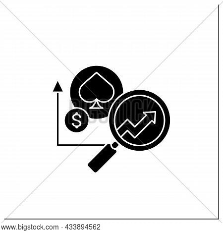 Casinos Predictive Analytics Glyph Icon. Data Tracking And Personalized Gaming. Enhance Profit Margi