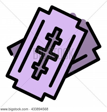 Stop Violence Steel Blade Icon. Outline Stop Violence Steel Blade Vector Icon Color Flat Isolated