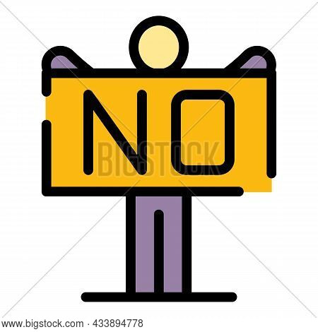 Stop , No Violence Icon. Outline Stop , No Violence Vector Icon Color Flat Isolated