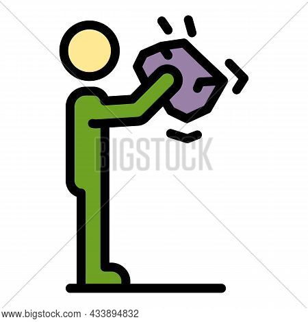Stop Society Violence Icon. Outline Stop Society Violence Vector Icon Color Flat Isolated