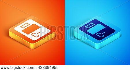 Isometric Exam Paper With Incorrect Answers Survey Icon Isolated On Orange And Blue Background. Bad