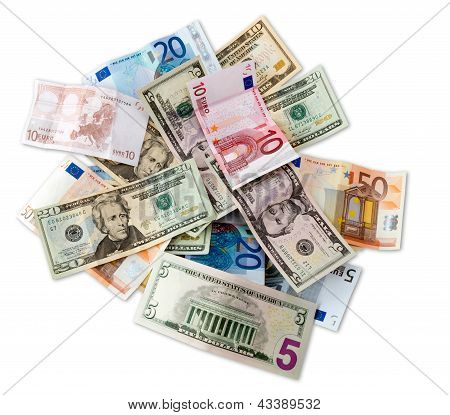 Euro And Dollar Top View With Clipping Path