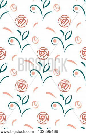Floral Hand Drawn Seamless Pattern. Folklore Style Rose Flower, Leaf, Berry, Flourish Of Tender Pink