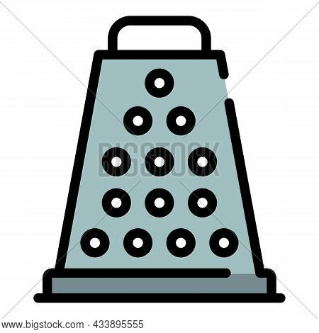 Kitchen Grater Icon. Outline Kitchen Grater Vector Icon Color Flat Isolated