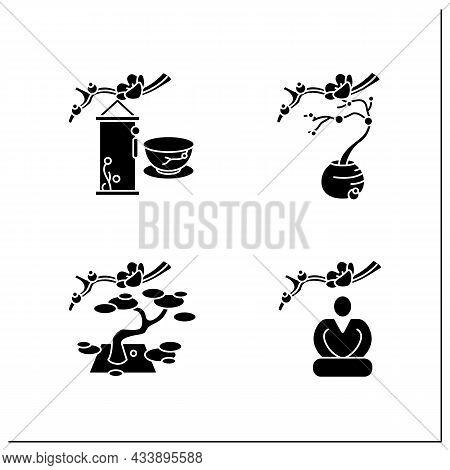 Japanese Tea Ceremony Glyph Icons Set. Seiza Position, Flower Arrangement, Hanging Scrolls. Japan An
