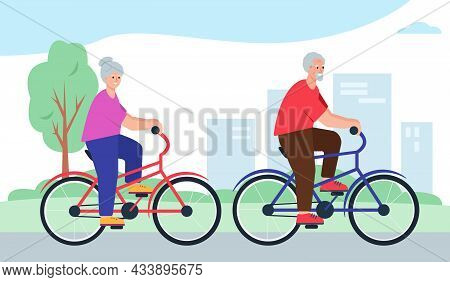 Elderly People On Bycicles In City Or Park. Smiling Happy Retired Couple Ride Bike. Senior Man And W