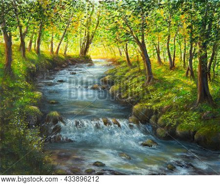 Original  Oil Painting Of Beautifl Spring Landscape, Forest  And River  On Canvas.modern Impressioni