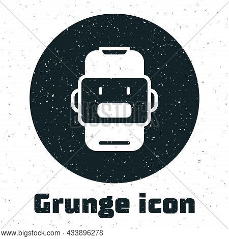 Grunge Chat Bot Icon Isolated On White Background. Chatbot Icon. Monochrome Vintage Drawing. Vector