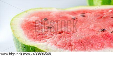 Ripe Watermelon Was Cut In Half.ripe Watermelon Was Cut In Half