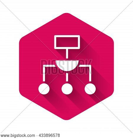 White Algorithm Icon Isolated With Long Shadow Background. Algorithm Symbol Design From Artificial I