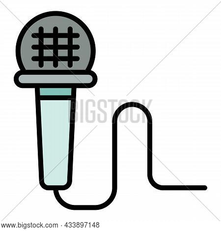 Wired Microphone Icon. Outline Wired Microphone Vector Icon Color Flat Isolated