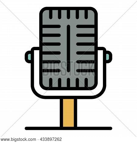Professional Microphone Icon. Outline Professional Microphone Vector Icon Color Flat Isolated