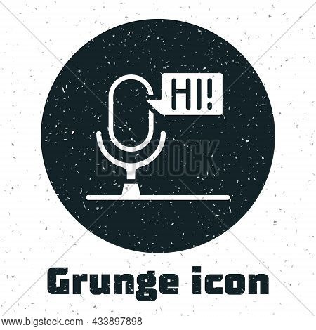Grunge Microphone Voice Device Icon Isolated On White Background. Microphone Interpreter And Alphabe