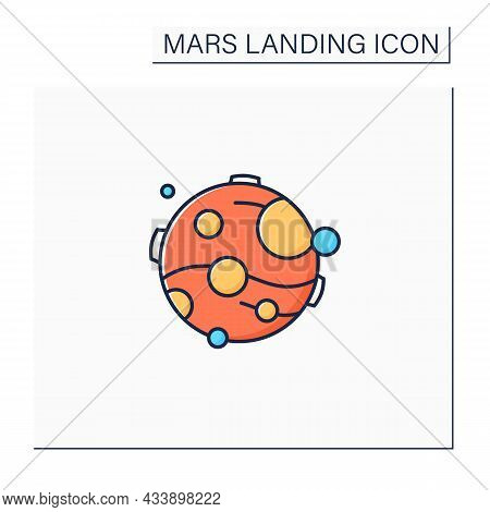 Mars Color Icon. Fourth Planet From Sun. Uninhabited Planet. Cosmos Research. Mars Landing Concept.