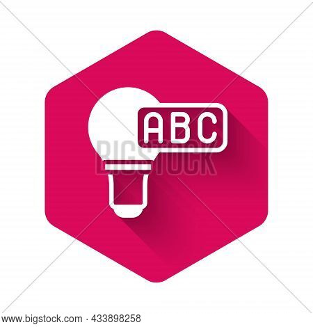 White Creative Lamp Light Idea Icon Isolated With Long Shadow Background. Concept Ideas Inspiration,