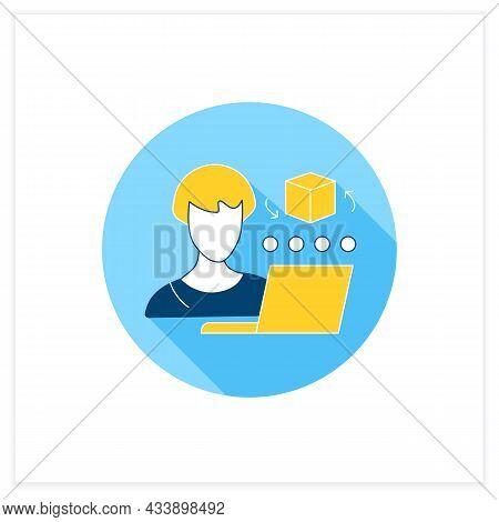 Cad Artist Flat Icon. Computer Aided Designer. 3d Artist. Create, Analyse, Optimized Design. Distanc