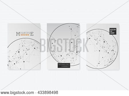 Brochure Cover With Connected Dots And Lines. Catalog Design Background. Future Geometry Page Design