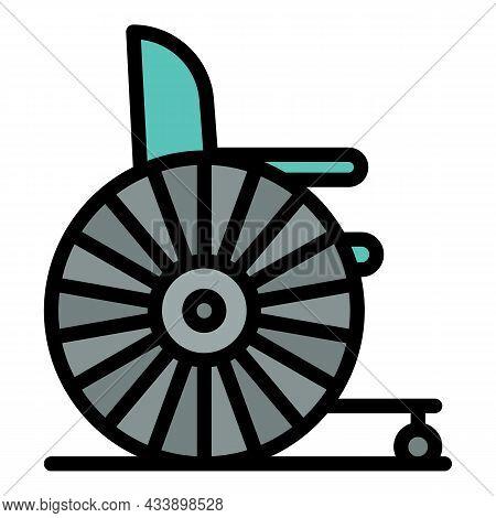 Retro Wheelchair Icon. Outline Retro Wheelchair Vector Icon Color Flat Isolated