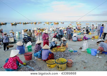 Vietnamese Fishers At Work