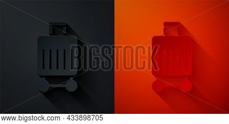 Paper Cut Suitcase For Travel Icon Isolated On Black And Red Background. Traveling Baggage Sign. Tra