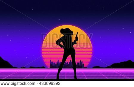 Beautiful Background With The Evening Sun And A Silhouette Of A Woman With A Revolver In The Style O