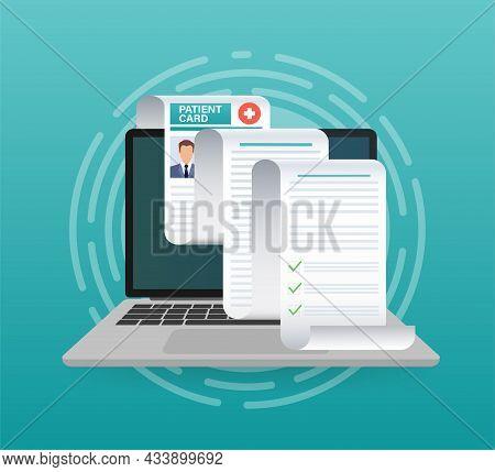 Patient Card. Document Concept. Pharmacy Concept. Health Insurance Concept. Vector Illustration.