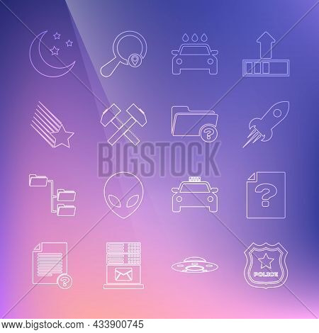 Set Line Police Badge, Unknown Document, Rocket Ship With Fire, Car Wash, Two Crossed Hammers, Falli
