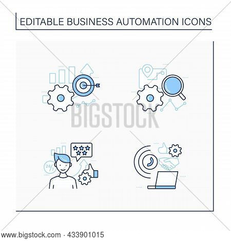 Business Automation Line Icons Set. Customer Service, Accuracy Improved, Tracking Process, Technolog