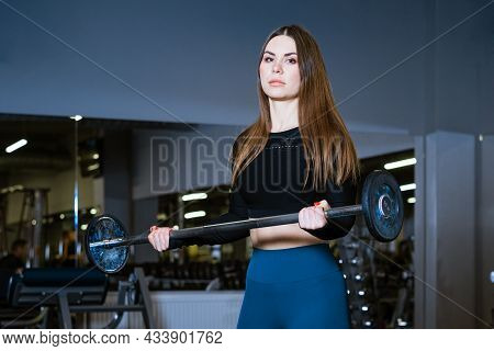 Determined And Strong Fitness Woman Exercising With Heavy Weights In Fitness Club. Sportswoman Holdi