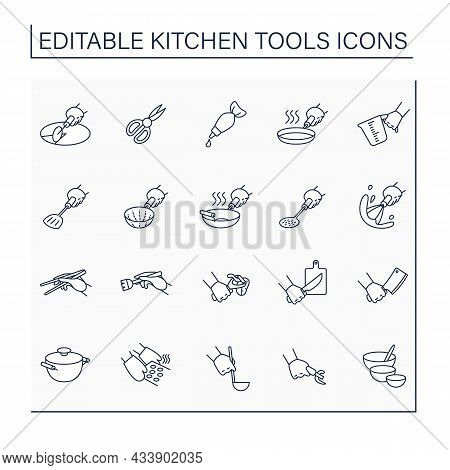 Kitchen Tools Line Icons Set. Cooking Utensils. Collections Of Important Kitchenware. Kitchen Equipm