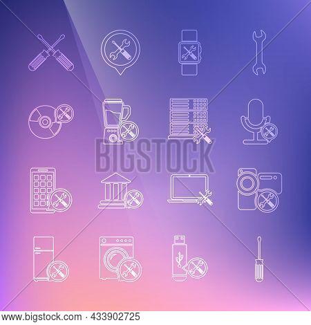 Set Line Screwdriver, Video Camera Service, Microphone, Smartwatch, Blender, Cd Or Dvd Disk, Crossed