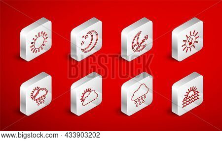 Set Line Sunset, Moon And Stars, Icon, Cloud With Rain, Cloud Weather And Sun Icon. Vector