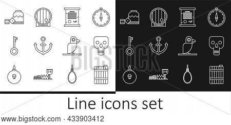 Set Line Wooden Barrel, Skull, Decree, Parchment, Scroll, Anchor, Pirate Key, Game Dice, Parrot And