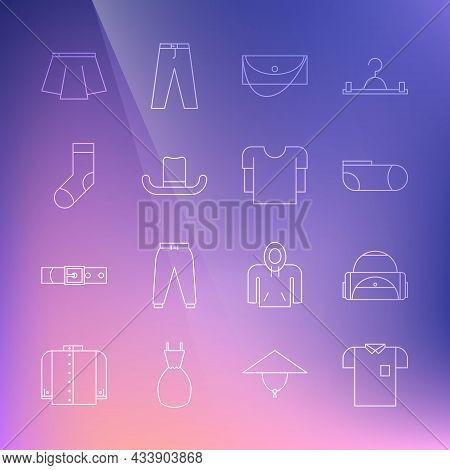 Set Line Polo Shirt, Sport Bag, Socks, Clutch, Man Hat, Socks, Skirt And Long Sleeve Icon. Vector