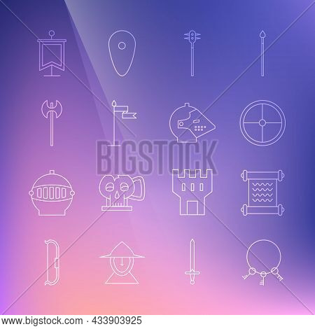 Set Line Old Keys, Decree, Parchment, Scroll, Round Wooden Shield, Medieval Chained Mace Ball, Flag,