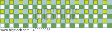 Masculine Tropical Gingham Flannel Seamless Vector Border. Classic Check Cloth Background For Digita