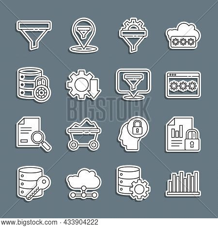 Set Line Pie Chart Infographic, Document And Lock, Password Protection, Sales Funnel With Gear, Cost