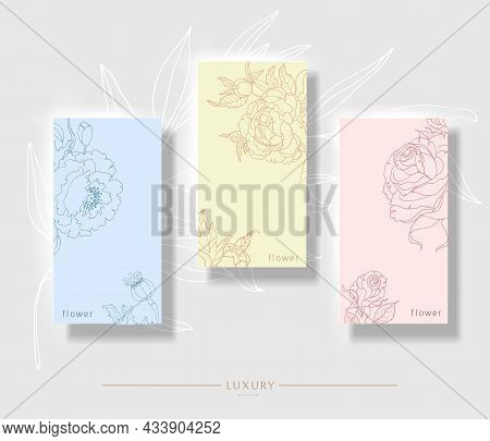 Floral Minimal Background. Minimalistic Set Of Floral, Invitation Template Design, Peony, Rose And P