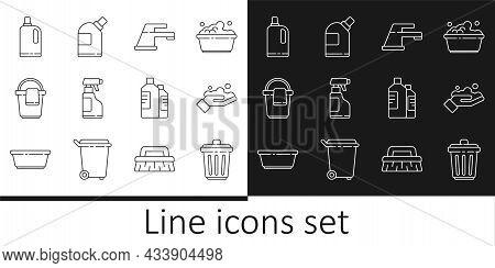 Set Line Trash Can, Washing Hands With Soap, Water Tap, Spray Bottle Detergent Liquid, Bucket Rag, F