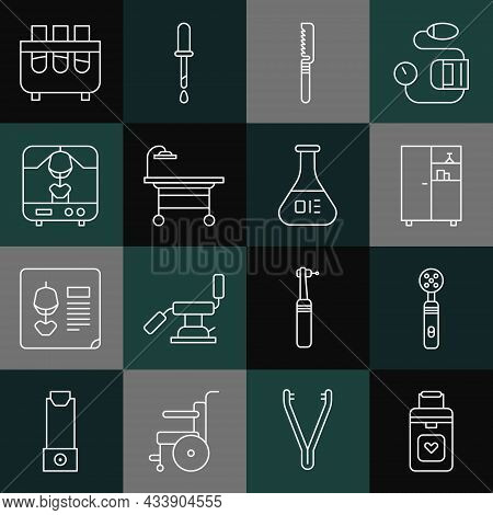 Set Line Organ Container, Electric Toothbrush, Medicine Cabinet, Medical Saw, Operating Table, X-ray