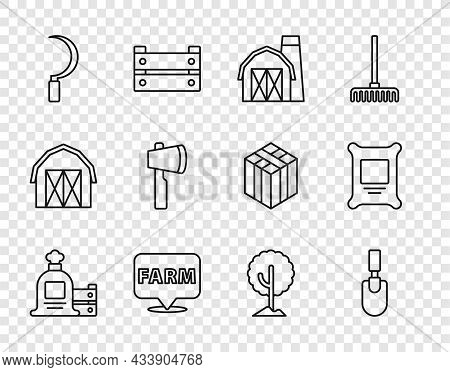 Set Line Full Sack And Wooden Box, Garden Trowel Spade Or Shovel, Farm House, Location Farm, Sickle,