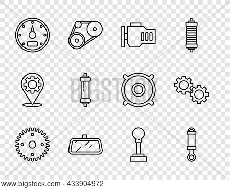 Set Line Gear, Shock Absorber, Check Engine, Car Mirror, Speedometer, Shifter And Icon. Vector