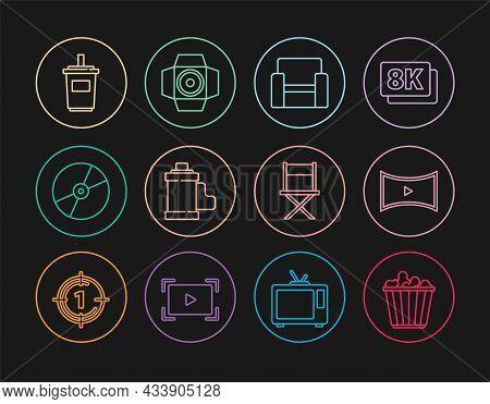 Set Line Popcorn In Box, Online Play Video, Cinema Chair, Camera Film Roll Cartridge, Cd Dvd Disk, P